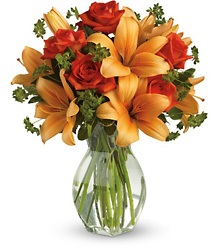 Fiery Lily & Rose from Metropolitan Plant & Flower Exchange, local NJ florist